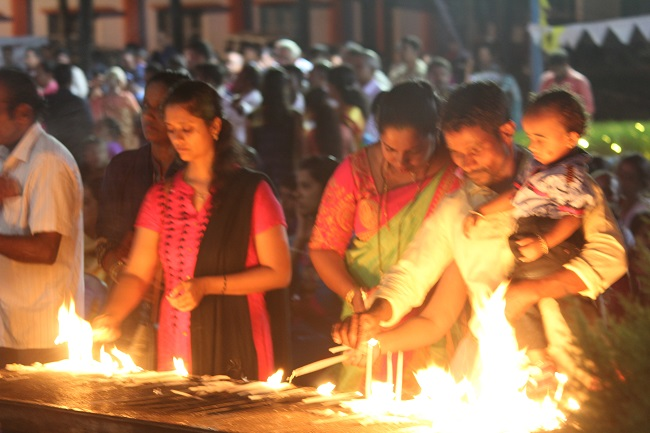 Vespers (Besp) observed with devotion on the eve of the annual parish feast at Our Lady Of Lourdes Church Kanajar